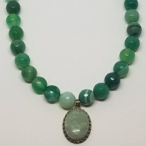 Aventurine & Green Banded Agate Necklace